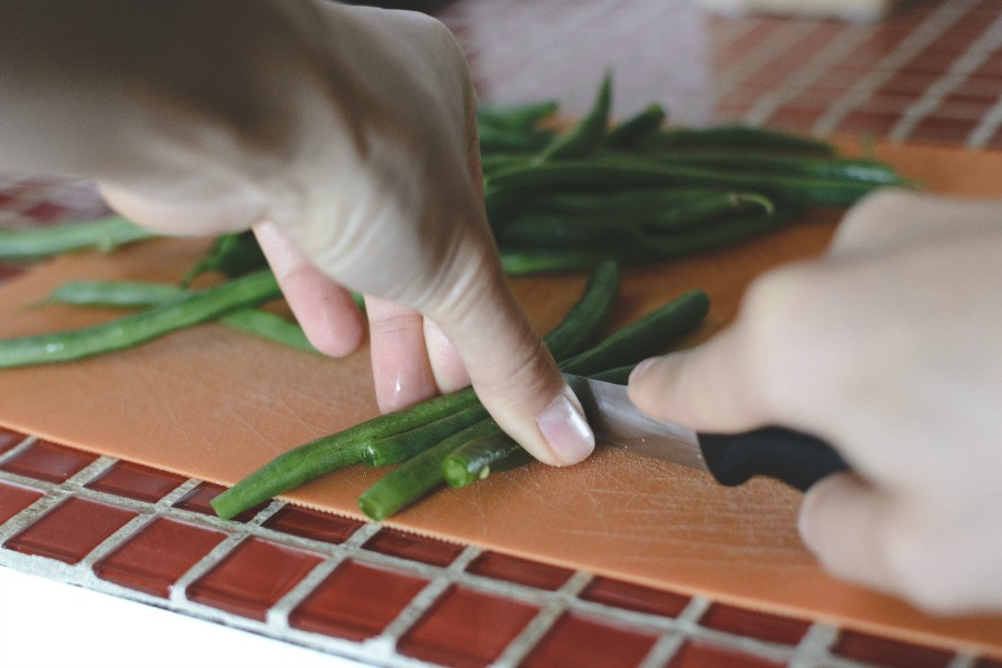 cutting green beans for green beans and potatoes