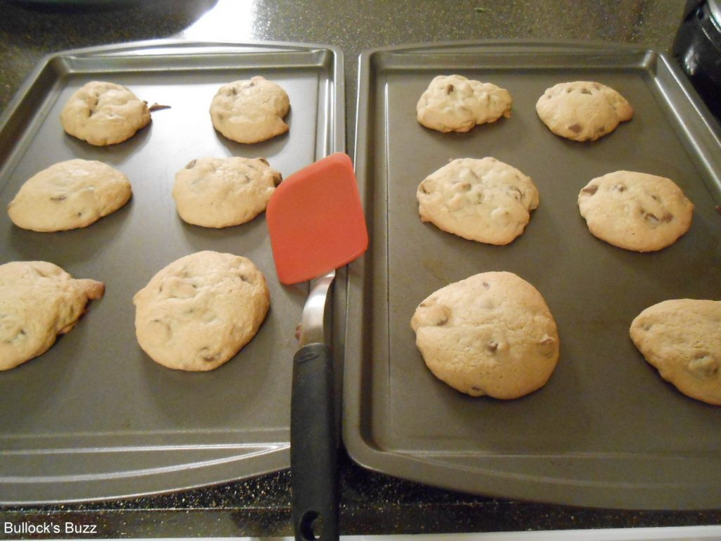 Double Chocolate Chip Cookies out of oven