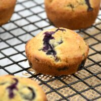 made from scratch blueberry muffins on cooling rack