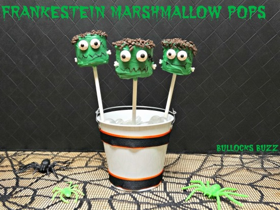 Last Minute Halloween Party Treats Frankenstein Marshmallow Pops finished