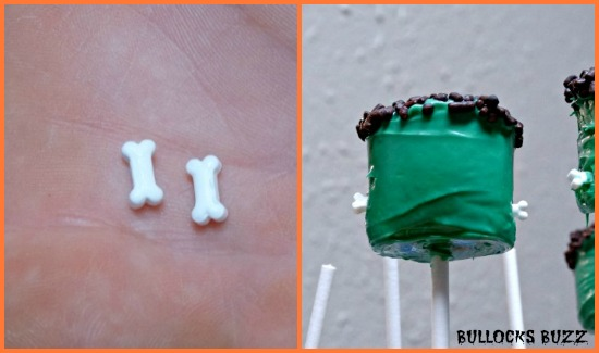 Last Minute Halloween Party Treats Frankenstein Marshmallow Pops add bolts