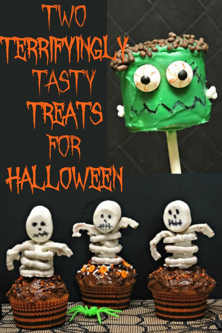 Halloween Treats : Frankenstein Marshmallow Pops and Skeleton Cupcakes