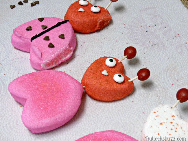 Valentine's Day PEEPS: Easy Last Minute Lady Lovebugs Treats add antennae