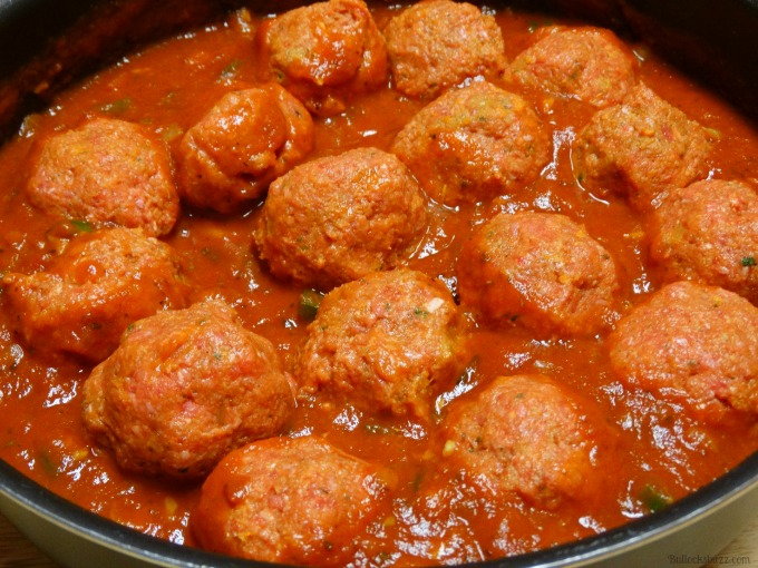 Spaghetti and Meatballs with Fresh Garden Vegetables simmer meatballs in sauce