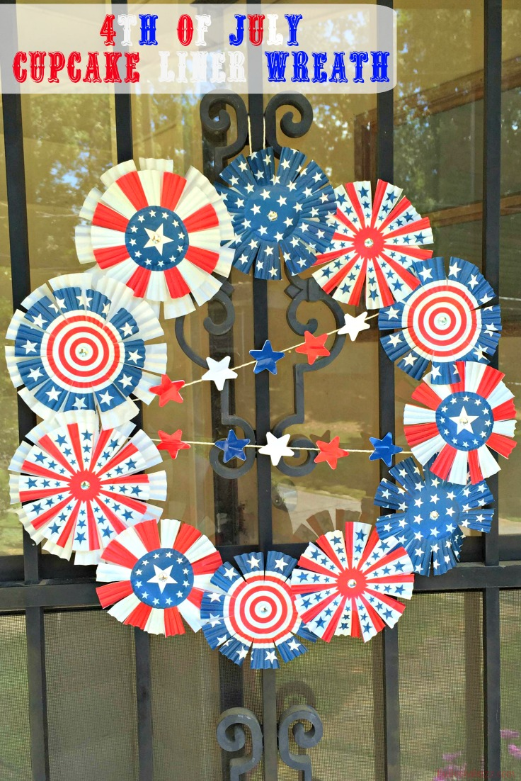 4th of July Cupcake Liner Wreath completed and hung on door