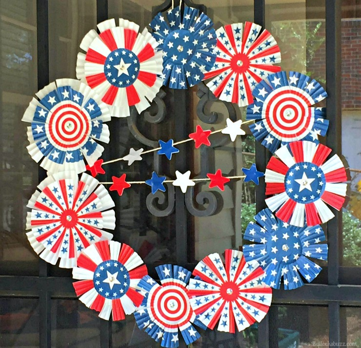 4th of July Memorial Day Cupcake Liner Wreath completed