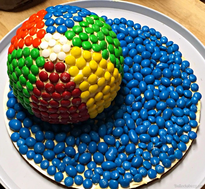 M&M Beach Ball Cake and water