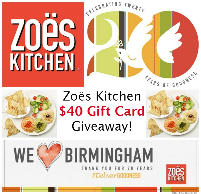 Zoës Kitchen $40 Gift Card Giveaway image