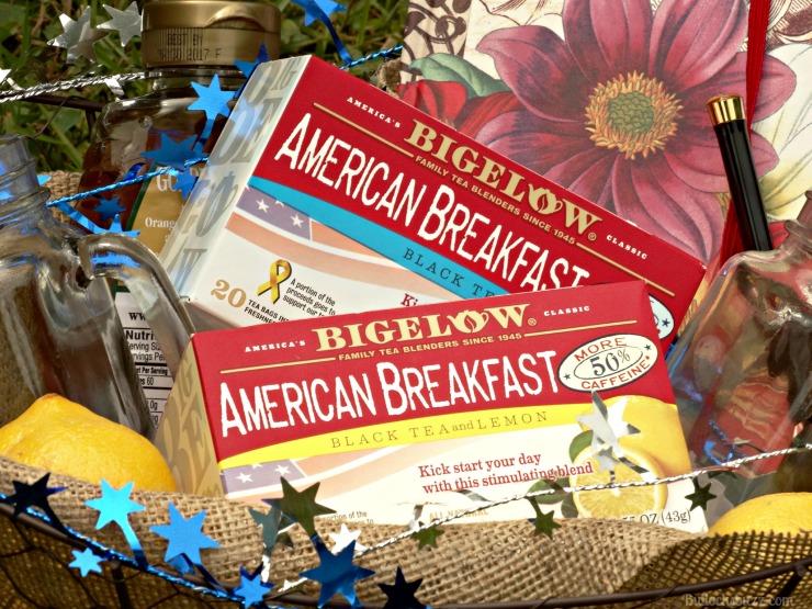 Gift Basket and Bigelow Tea finished basket up close