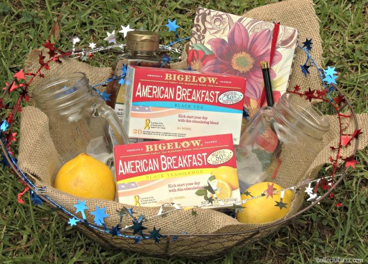 Gift Basket and Bigelow Tea finished basket