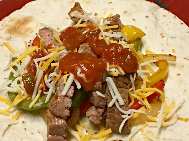 grilled steak fajitas add salsa