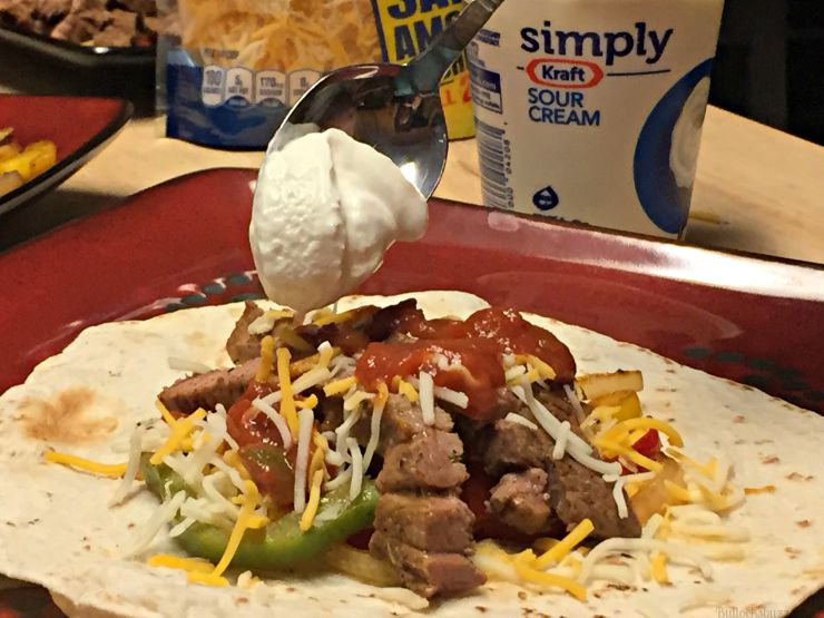 grilled steak fajitas add sour cream