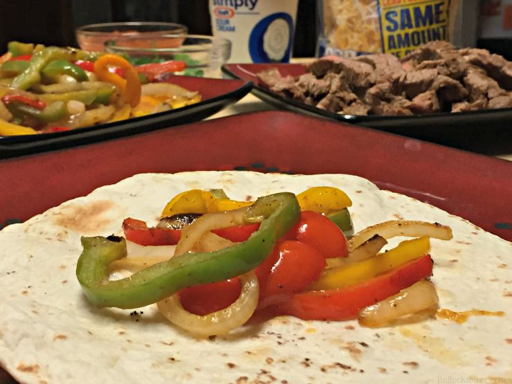 grilled steak fajitas add veggies