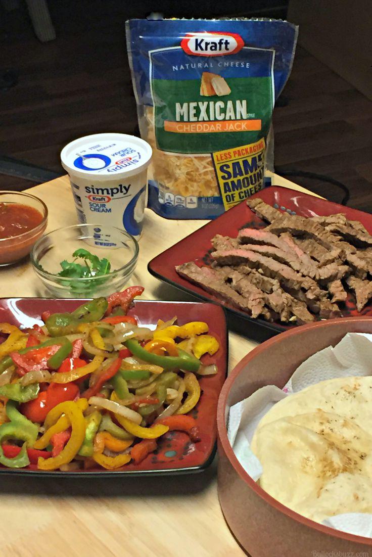 grilled steak fajitas ingredients ready to put together