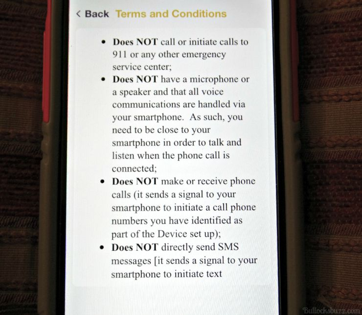 V.ALRT Personal Emergency Alert Device setting up terms and conditions