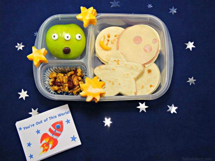 You're Out of This World space themed bento box lunch for kids