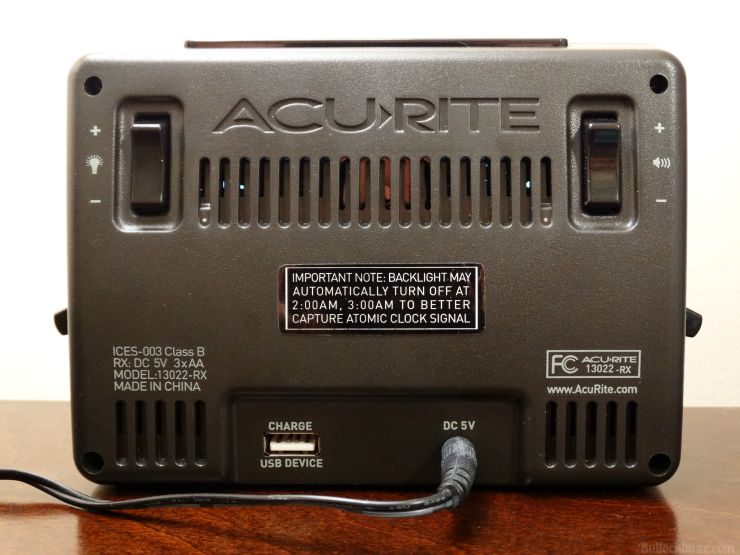 AcuRite Atomic Dual Alarm Clock with USB and Temperature back side
