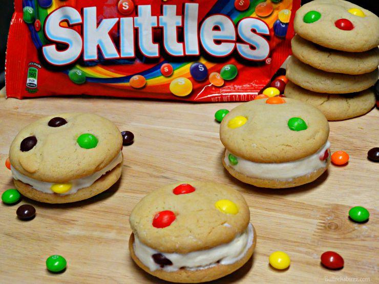 Skittles Ice Cream Cookie Sandwiches