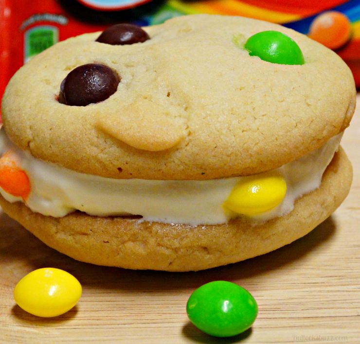 Skittles® Cookie Ice Cream Sandwiches put ice cream between two cookies