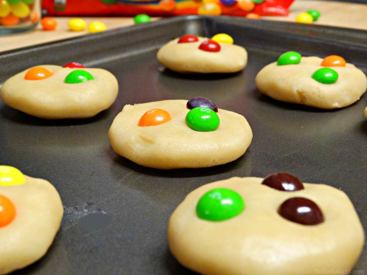 Skittles® Cookie Ice Cream Sandwiches gently insert a few skittles