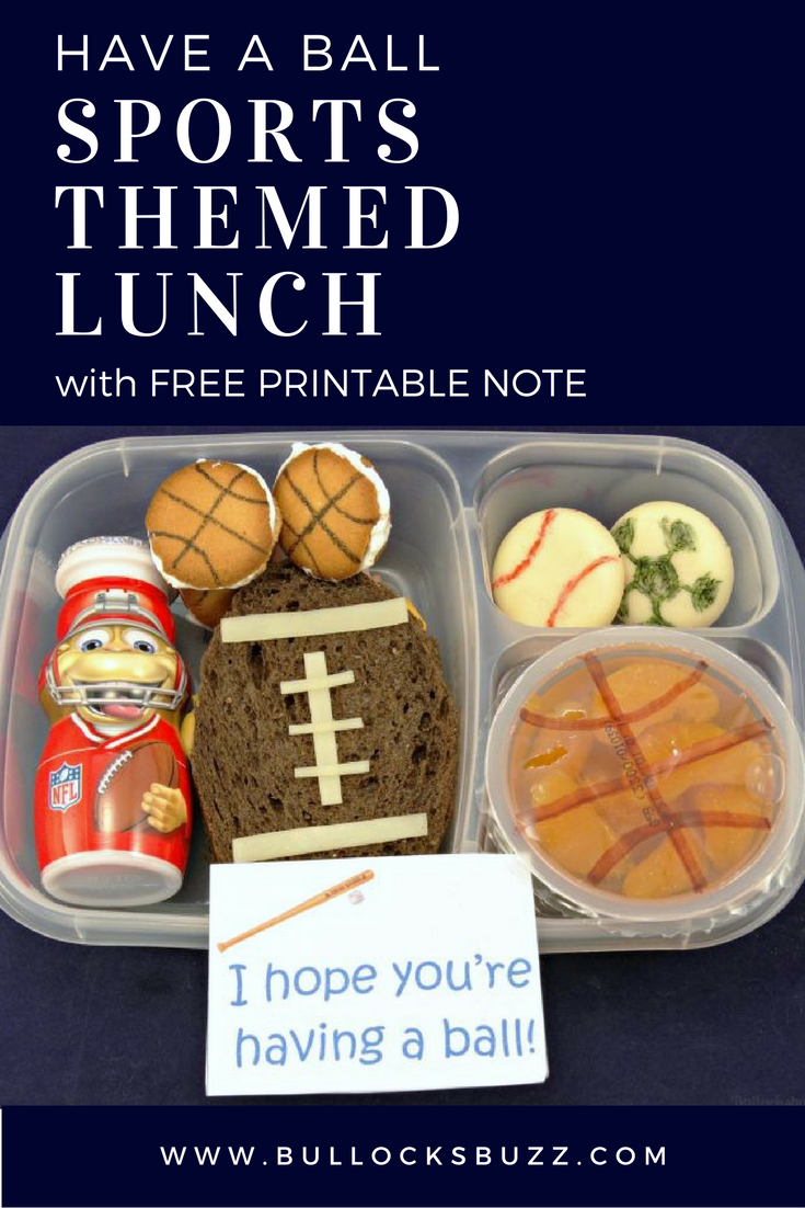 This adorable Have a Ball sports themed lunch with free printable note is perfect for your sports-loving child!