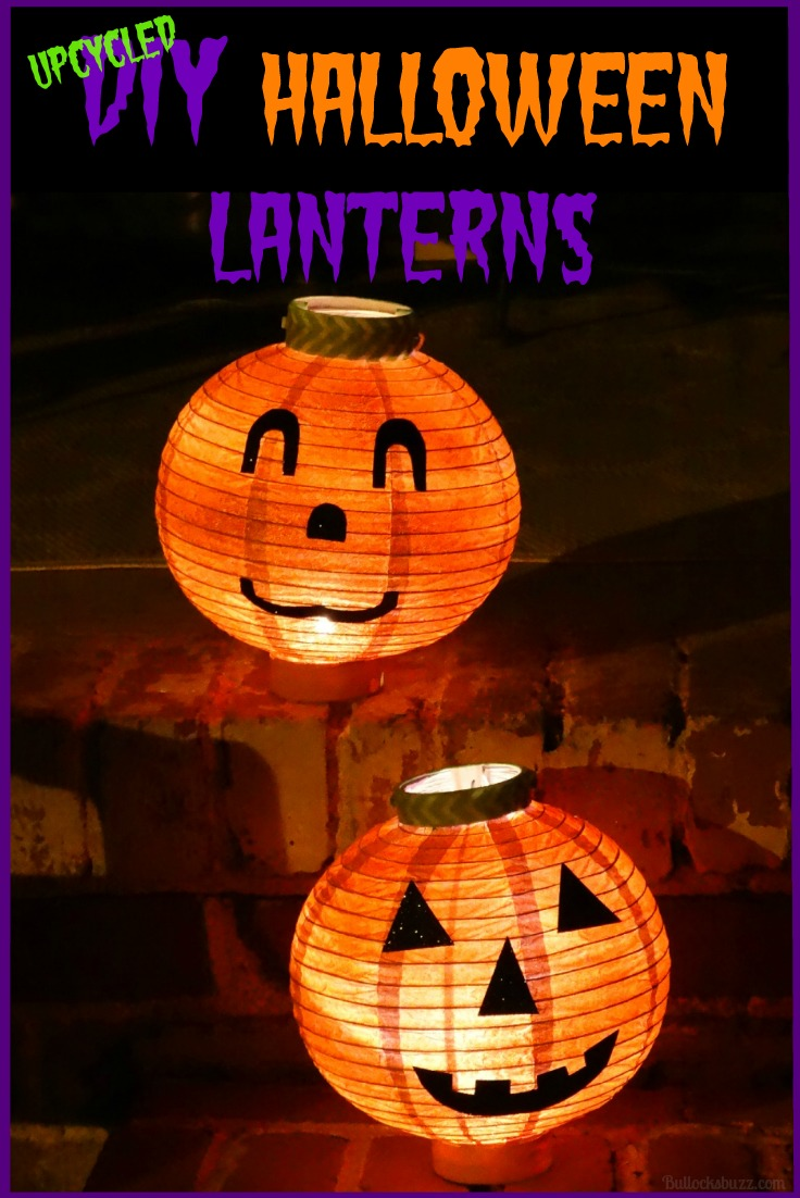 Greet Trick or Treaters with these adorable DIY Halloween Pumpkin Lanterns made from upcycled battery operated paper globe lanterns.
