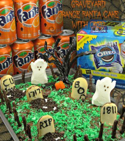 Haunted Halloween Graveyard Orange Fanta Cake with OREO
