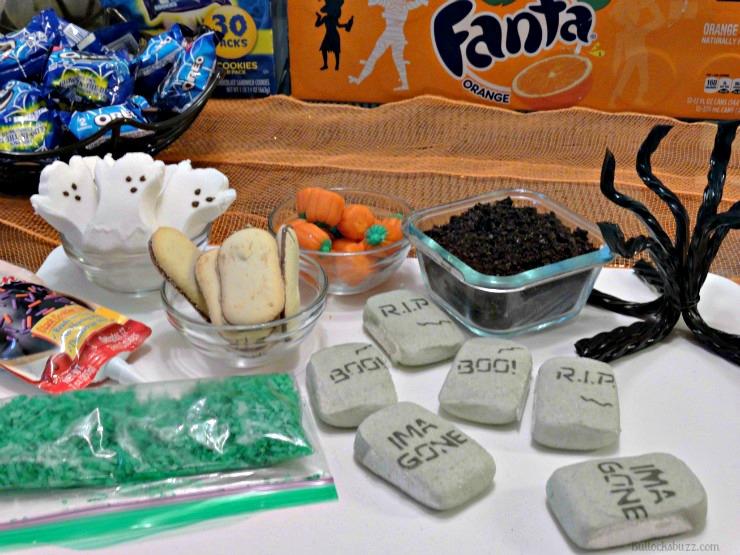 Halloween Haunted Graveyard Fanta Orange Cake supplies to decorate