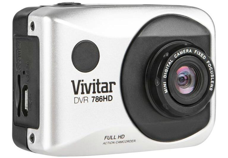Vivitar DVR 786HD Action Camcorder front left angle action camera