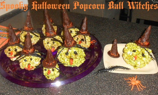 Last Minute Halloween Treats Popcorn Ball Witches
