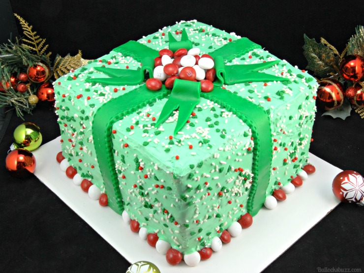 Holiday Present Pinata Cake M&M's surprise inside finished cake