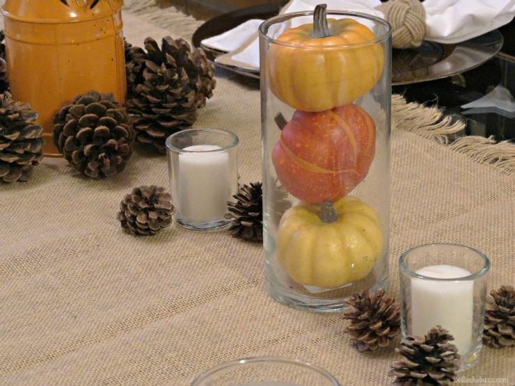NILLA, PB and Mallow Squares Thanksgiving dessert recipe DIY centerpiece Autumn theme clear vases with gourds