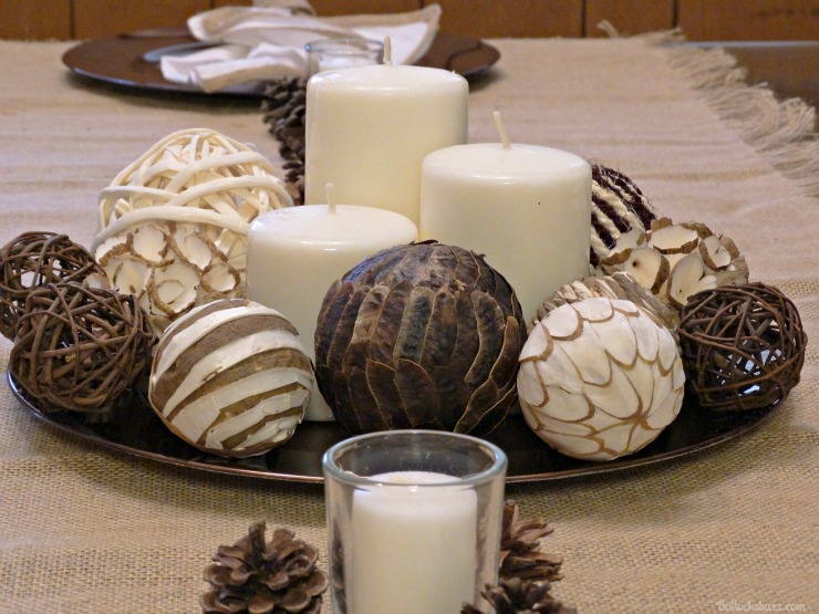 NILLA, PB and Mallow Squares Thanksgiving dessert recipe DIY centerpiece neutral modern theme candles on charger
