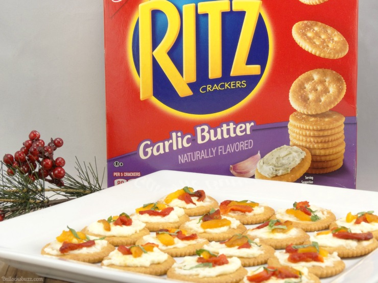 Roasted Pepper Cheese Bites and Holiday Party Planning Tips spread on crackers product image