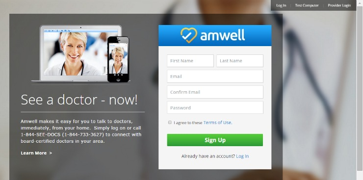 amwell telehealth sign up page
