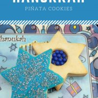 Delicious, homemade piñata sugar cookies baked in the shape of Star of David's with a candy surprise inside!