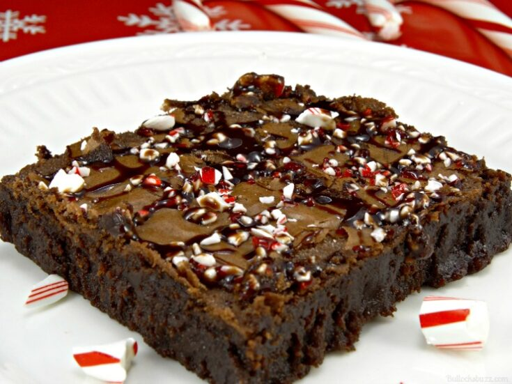 Double Delight Chocolate Peppermint Brownie on white plate