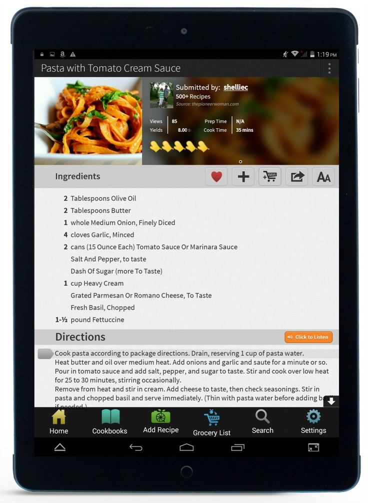 key ingredient recipe reader hd tablet Android based tablet front view