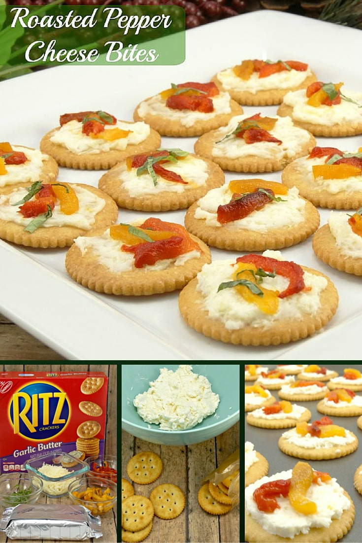 Ritz crackers topped with mozzarella, cream cheese, roasted red and yellow peppers and then topped off with fresh basil in this quick Roasted Pepper Cheese Bites recipe