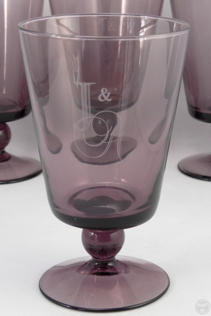 things remembered violet monogrammed goblet set full shot close up for customized gifts
