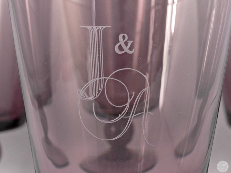 things rememberedcustomized gifts violet monogrammed goblet set monogram close up