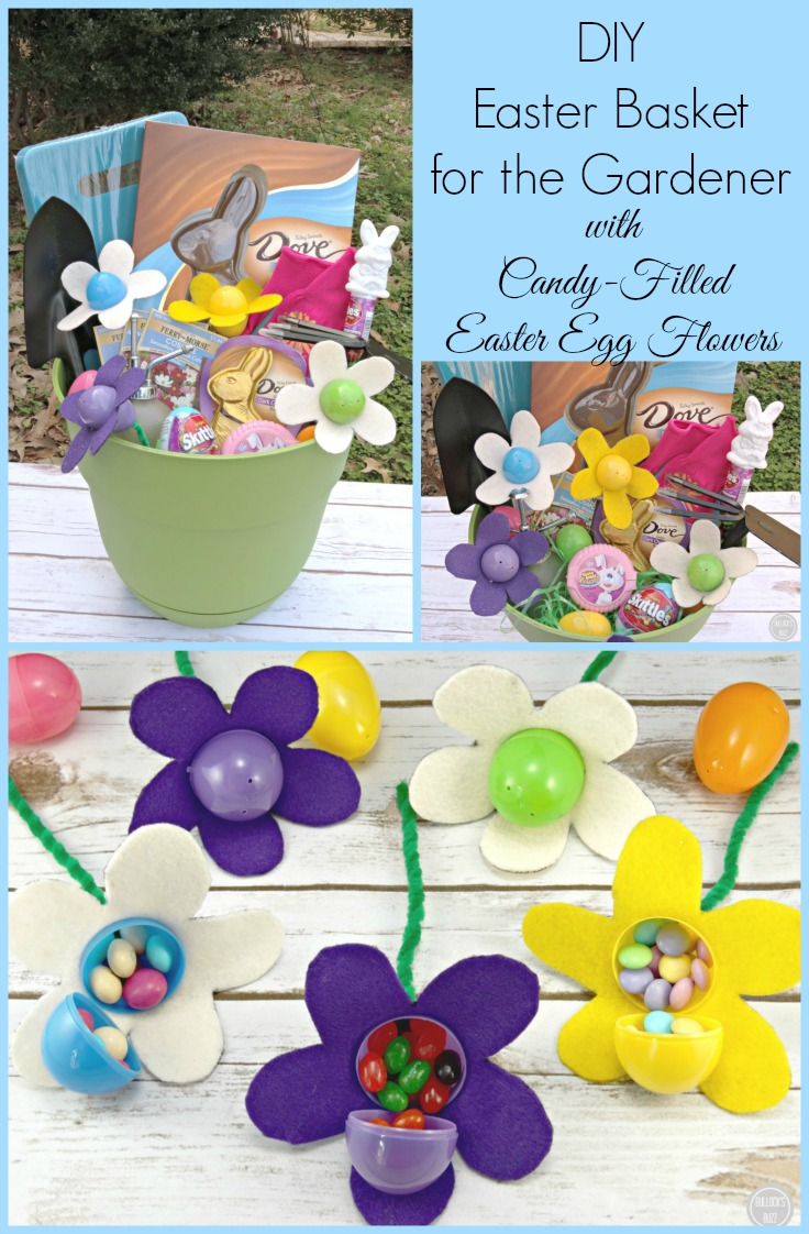 An adorable and easy DIY Easter baskets complete with super-cute candy-filled flowers. Perfect for the gardener or flower lover!