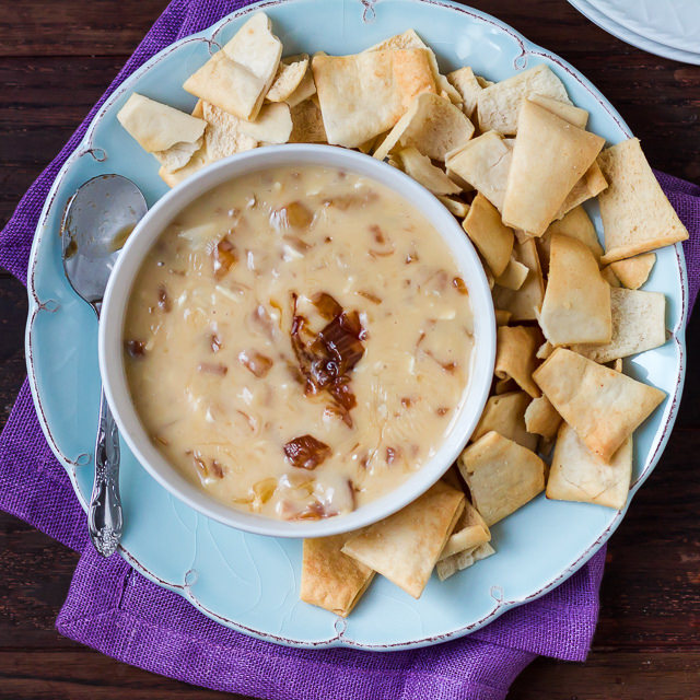 Savory Super Bowl Snacks Brie and Caramelized Onion Queso