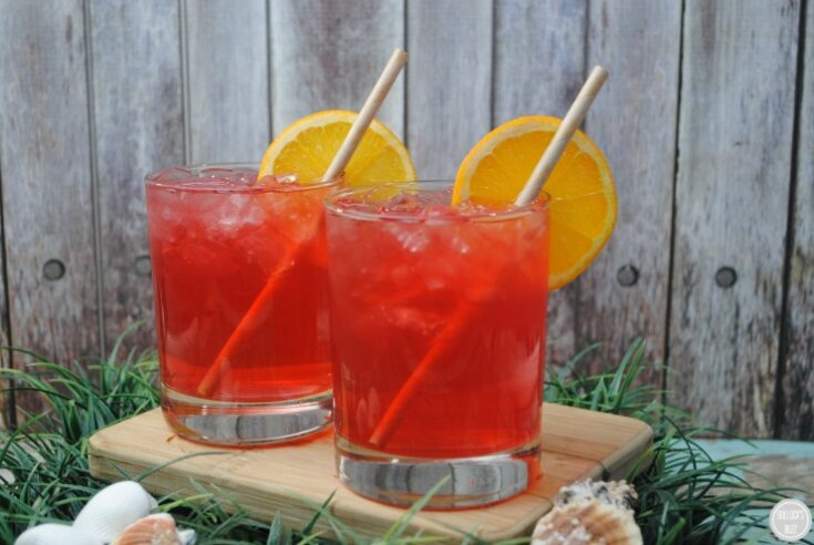 Caribbean Punch in glasses on cutting board