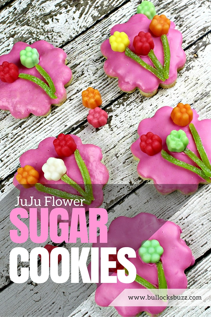 Deliciously sweet sugar cookies topped with JuJu Flowers for an extra special treat. Perfect for spring celebrations or a homemade Mother's Day gift!