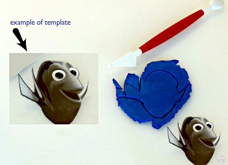 Finding Dory Chocolate Covered Waffle Bowl In-Process cut out template on fondant