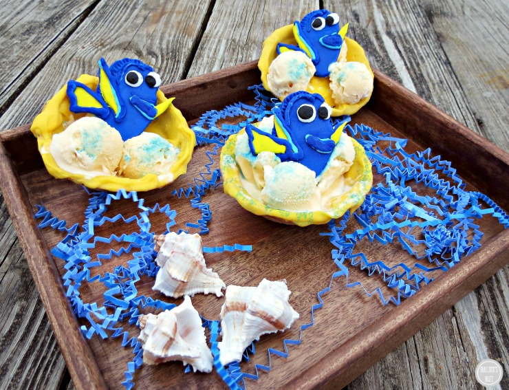 Finding Dory Chocolate Covered Waffle Bowls with Ice Cream main