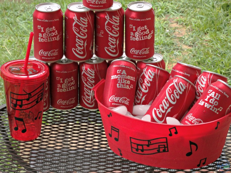 diy drink cooler and matching cups Coca Cola Share a Song post
