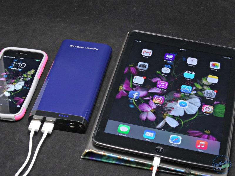 Tech Armor ActivePower 208000mAh External USB Power Bank charging two devices