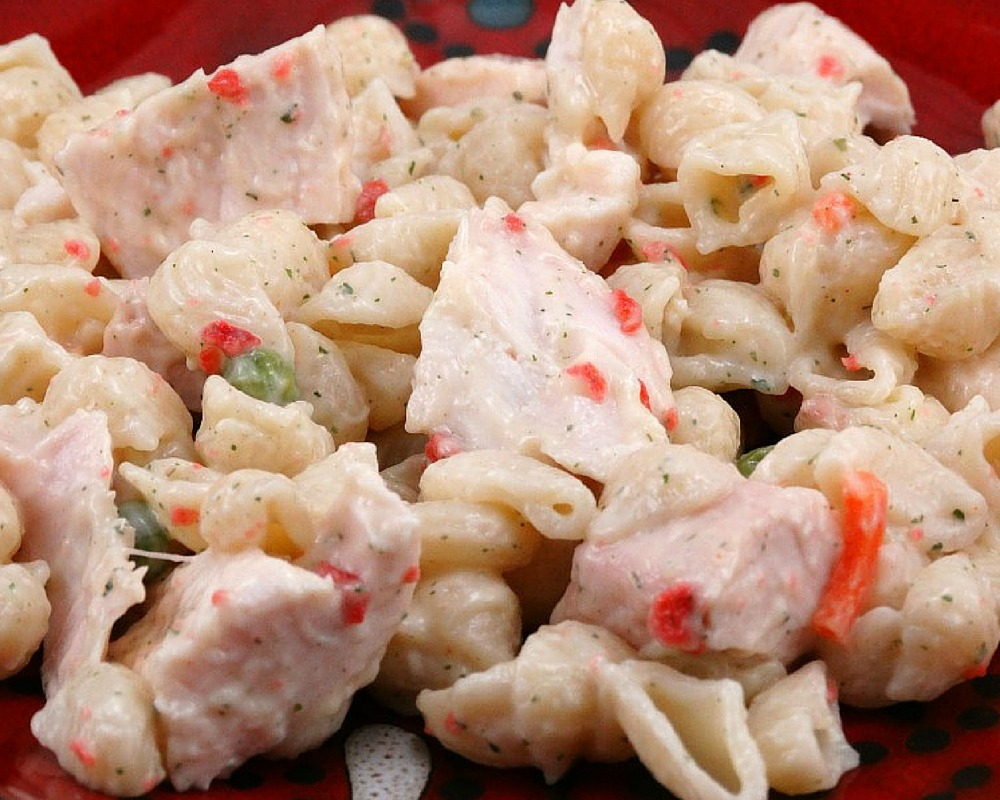 Tender pasta and grilled chicken are tossed in a rich and creamy ranch and bacon dressing in this delicious and easy Leftover Grilled Chicken Ranch and Bacon Pasta Salad.